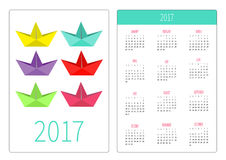 Pocket calendar 2017 year. Week starts Sunday. Flat design Vertical orientation Template. Set of bright paper ships. Isolated. Vector illustration Stock Image