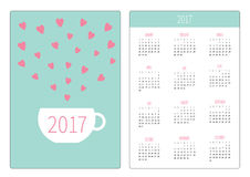 Pocket calendar 2017 year. Week starts Sunday. Flat design Vertical orientation Template. Teacup with hearts. Love card. Vector illustration Royalty Free Stock Photo
