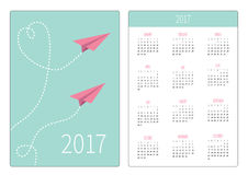 Pocket calendar 2017 year. Week starts Sunday. Flat design Vertical orientation Template. Two flying paper planes. Heart dash line Royalty Free Stock Photography
