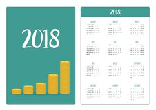 Pocket calendar 2018 year. Week starts Sunday. Gold coin. Stacks icon in shape of diagram. Dollar sign symbol. Cash money. Going up graph. Income and profits Stock Photos