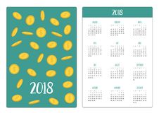 Pocket calendar 2018 year. Week starts Sunday. Golden coin 3D icon set. Flying falling down cash money rain. Dollar sign symbol. I. Ncome and profits. Business Royalty Free Stock Images