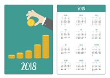 Pocket calendar 2018 year. Week starts Sunday. Hand holding gold coin icon. Diagram shape stacks. Dollar sign symbol. Cash money. Going up graph. Growing Stock Image