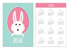 Pocket calendar 2018 year. Week starts Sunday. Happy Easter. Bunny rabbit hare inside egg frame window. Cute cartoon character. Su. Rprised emotion. Blue Stock Image
