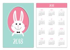 Pocket calendar 2018 year. Week starts Sunday. Happy Easter. Smiling bunny rabbit hare inside painted egg frame window. Bow tie ac. Cessory. Cute cartoon Stock Photo