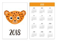 Pocket calendar 2018 year. Week starts Sunday. Jaguar Leopard head. Wild cat smiling face. Orange panther with spot. Cute cartoon. Character. Baby animal stock illustration