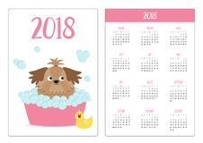 Pocket calendar 2018 year. Week starts Sunday. Little glamour tan Shih Tzu dog taking a bubble bath. Yellow duck bird toy. Cute ca. Rtoon baby character. Flat Royalty Free Stock Photography