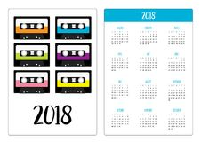 Pocket calendar 2018 year. Week starts Sunday. Plastic audio tape cassette. Retro music icon set. Recording element. 80s 90s years. Different colors. Flat Stock Photos