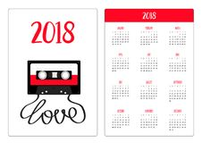 Pocket calendar 2018 year. Week starts Sunday. Plastic audio tape cassette with tape word love. Retro music icon. Recording elemen. T. 80s 90s years. Red color Royalty Free Stock Photos