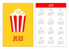 Pocket calendar 2018 year. Week starts Sunday. Popcorn icon. Cinema sign symbol in flat design style. Paper red white lined stripe. D box package. Yellow Stock Photos