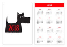 Pocket calendar 2018 year. Week starts Sunday. Scottish terrier black dog. Scottie puppy. Cute cartoon character. Pet animal colle. Ction. Adopt concept. Flat Royalty Free Stock Images