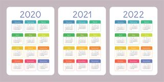 Calendar 2020, 2021, 2022 years. Vertical vector calender design template. Colorful set. Week starts on Sunday. Pocket calendar 2020, 2021 and 2022 years stock illustration