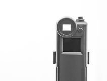 Pocket Camera. Detail view of cheap pocket camera, monochrome, white isolation Royalty Free Stock Photos