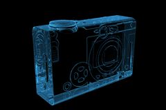 Pocket camera 3D rendered xray blue. Transparent Royalty Free Stock Photos