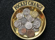 Pocket Change. A collection of foreign coins entitled pocket change royalty free stock photography