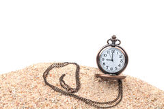 Pocket clock on the beach. With white background Stock Images