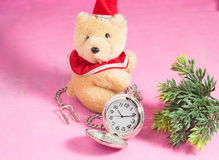 Pocket clock and bear toy on pink Royalty Free Stock Photo