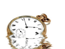 Pocket Clock In Gold With Reflections Stock Images