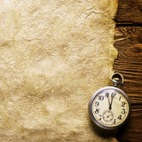 Pocket clock on old paper Royalty Free Stock Photos
