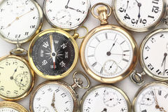 Pocket clocks and a compass Stock Photo
