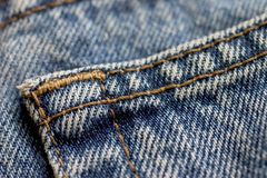 Pocket close up. Pocket macro. Denim using shallow depth. Denim concept. Denim pocket royalty free stock images