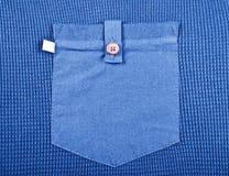 Pocket close up. Pocket men\'s blue shirt close up Royalty Free Stock Photo