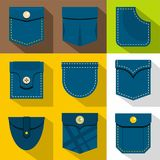 Pocket from clothes icons set, flat style Royalty Free Stock Photography