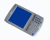 Pocket Computer. Isolated on white with a blue screen ready for your text or image royalty free stock image