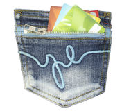 Pocket with credit card Royalty Free Stock Photography