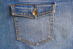 Pocket of a denim jacket with a button close-up. Closed pocket on a denim women`s jacket Royalty Free Stock Photo