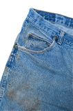 Pocket Detail of Dirty Blue Jeans Royalty Free Stock Photos