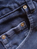 Pocket details on blue cords. Pocket details on blue corduroy pants Stock Photo