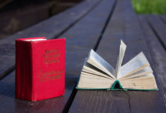 Pocket dictionaries. Language learning in my spare time outdoors Stock Photo