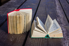 Pocket dictionaries. Language learning in my spare time outdoors Royalty Free Stock Photo
