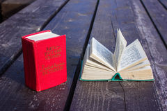 Pocket dictionaries. Language learning in my spare time outdoors Royalty Free Stock Photos