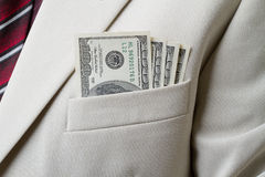 Pocket with dollars Stock Photos