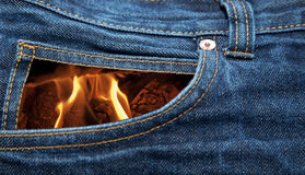 Pocket in flames Stock Photography