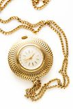Pocket golden watch with chain Stock Photo