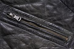 Pocket gray leather jacket with zip Stock Photography