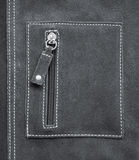 Pocket on grey leather texture as background Royalty Free Stock Photo