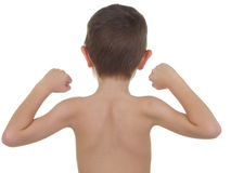 Pocket Hercules 27. Young boy showing his muscles Stock Photography