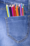 Pocket Jeans and colorful pencils Royalty Free Stock Image