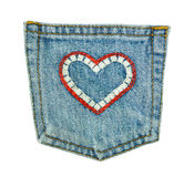 Pocket jeans Heart isolate Stock Images