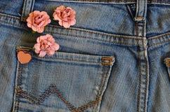 Pocket jeans love card Stock Images