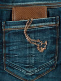Pocket jeans with a wallet. And a gold chain Royalty Free Stock Image