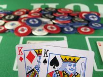 Pocket Kings. A pair of Kings as a starting hand in a game of texas hold'em Royalty Free Stock Photo