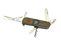Pocket knife with compass stock illustration