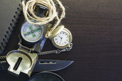 Pocket knife with compass,paper,pencil,notebook,pocket watch,rop Stock Photos