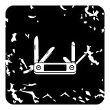 Pocket knife icon, grunge style Royalty Free Stock Images