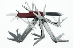 Pocket knife or Steel multi-function tools isolated on white background. Hand tools in industry jobs Royalty Free Stock Photography