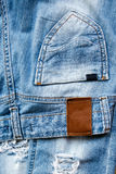 Pocket and label of jeans. Stock Images